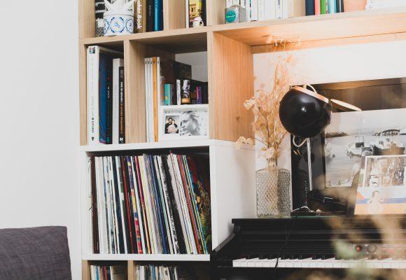 Bibliothèque vinyles et livres