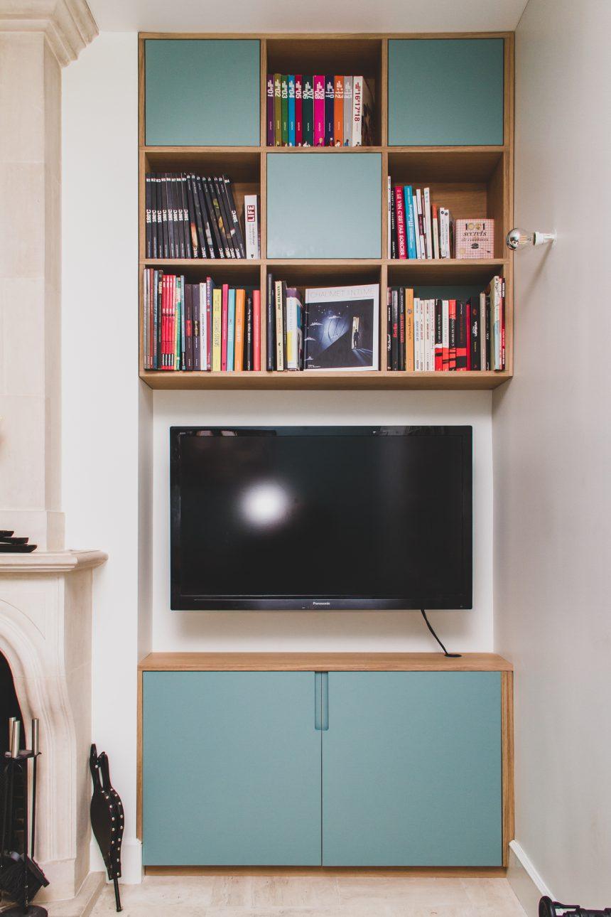 Meuble TV  et bibliothèque Bleu odet et latté chêne