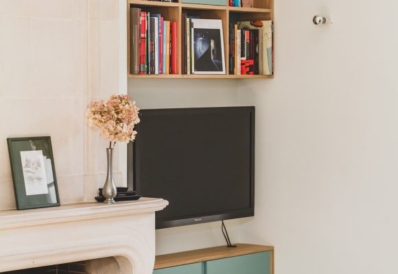 Meuble TV bibliothèque bleu et bois