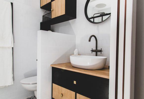 Meuble Salle de bain bois & noir
